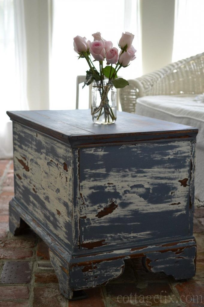 Cottage Fix blog - pink roses on a blue chippy trunk