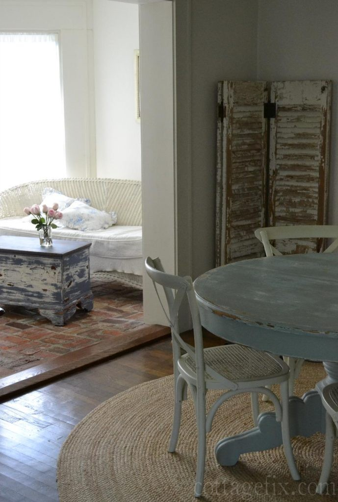 Cottage Fix blog - Annie Sloan old Violet painted trunk complimenting a Robin's Egg dining table