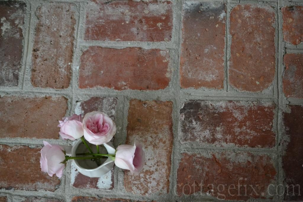 Cottage Fix blog - pale pink roses and brick floors