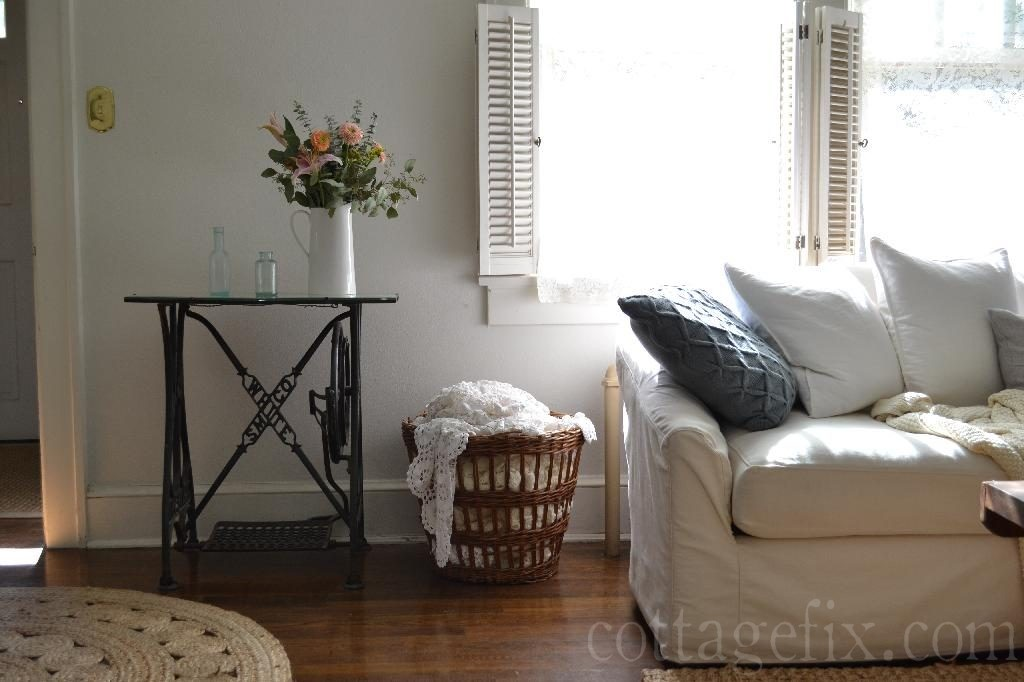 Cottage Fix blog - white sofa, basket, and bouquet