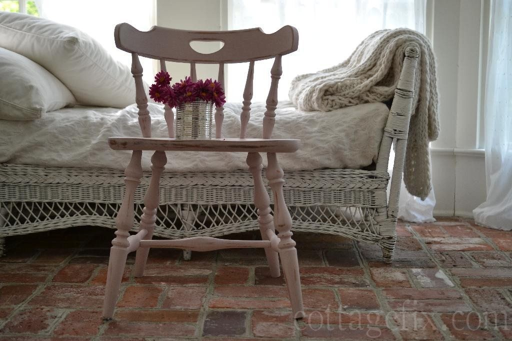 Cottage Fix blog - pale pink painted chair and bright pink blooms