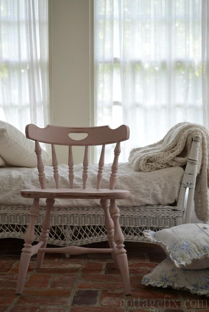 Cottage Fix blog - pale pink chair in Annie Sloan chalk paint