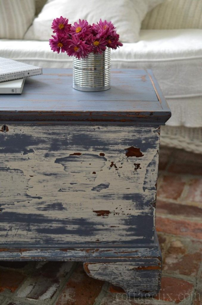 Cottage Fix blog - distressed trunk and pink flowers