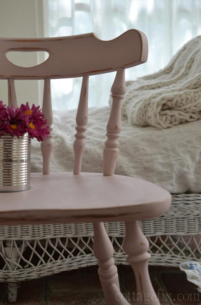 Cottage Fix blog - pale pink painted and distressed chair