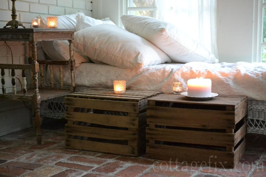 Cottage Fix blog - crates and candlelight on the cottage sun porch