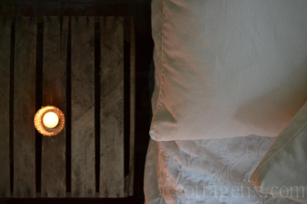 Cottage Fix blog - farm house crate and candlelight