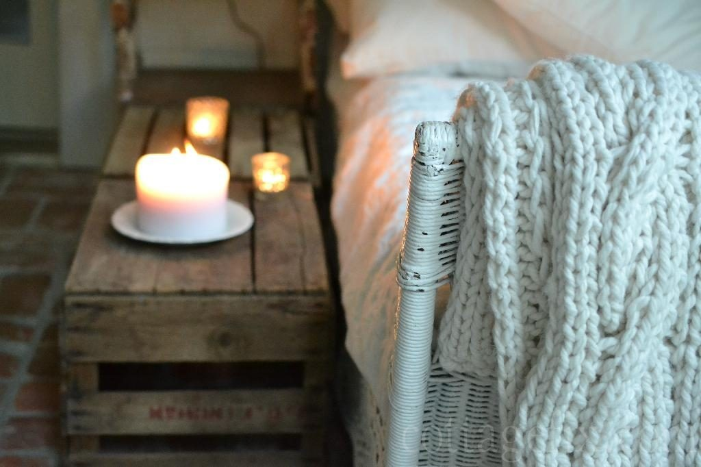 Cottage Fix blog - crates and candlelight on the sun porch