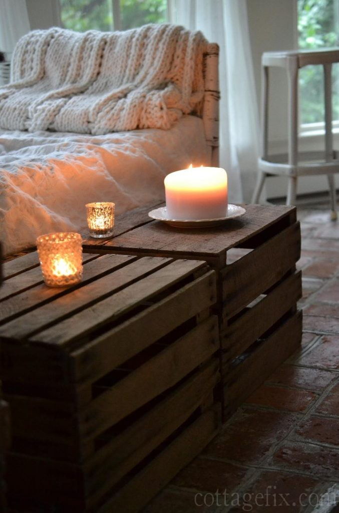 Cottage Fix blog - crates and candlelight