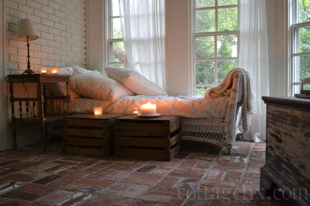 Cottage Fix blog - decorating with crates and candlelight on the cottage sun porch