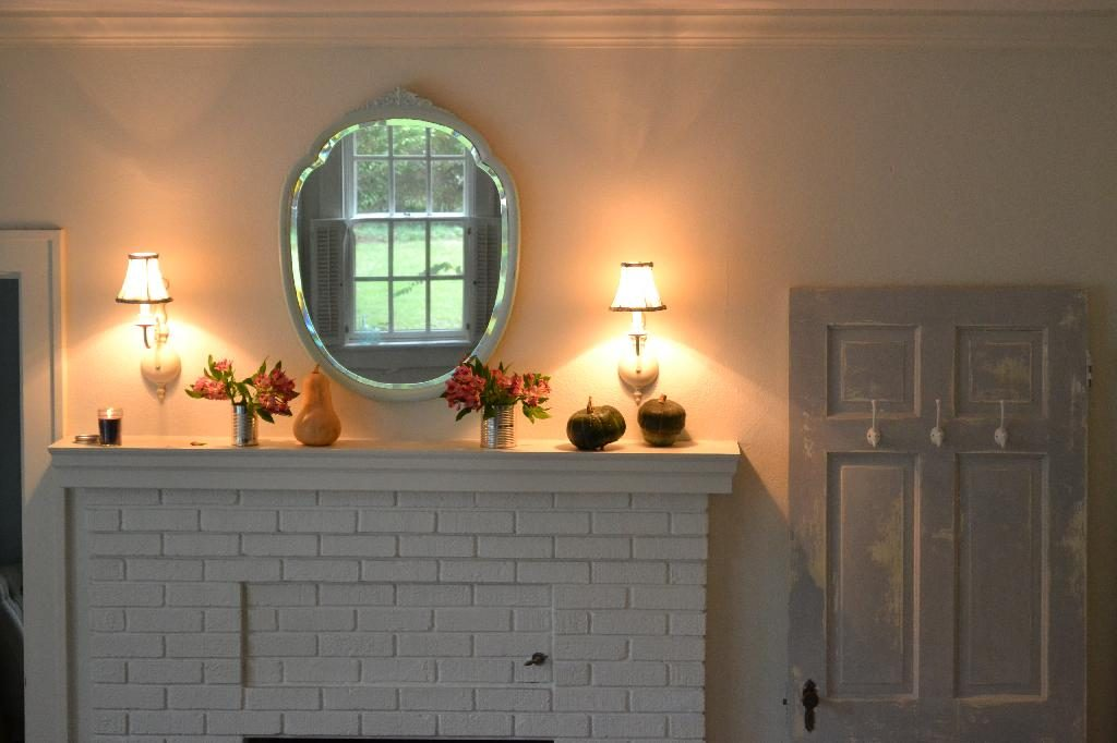 Cottage Fix blog - shabby fall mantle