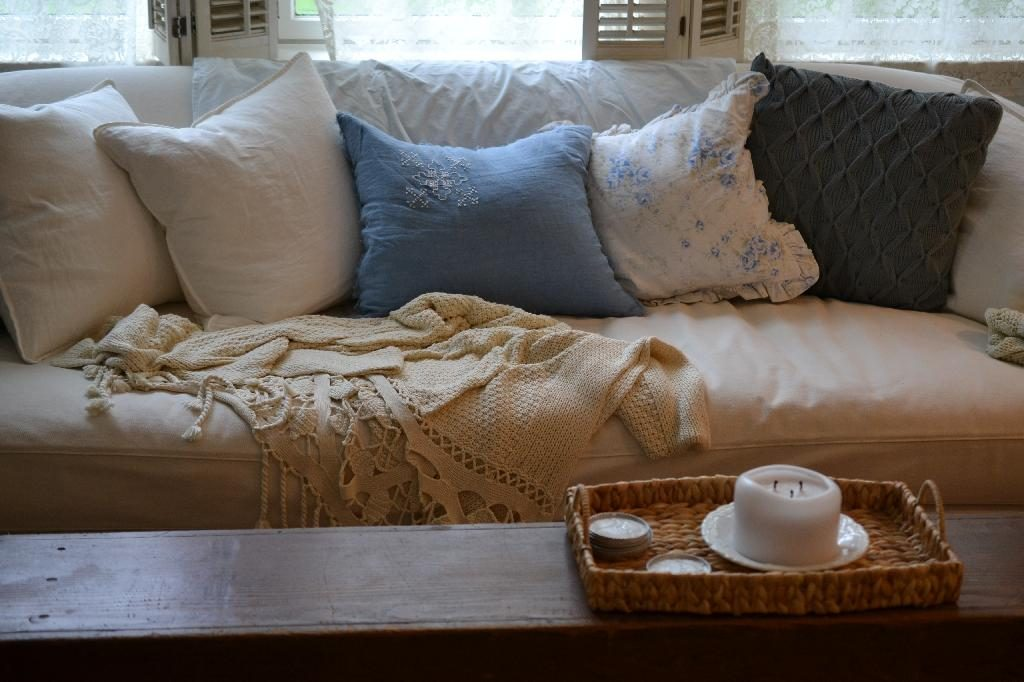 Cottage Fix blog- bright blue and gray pillows