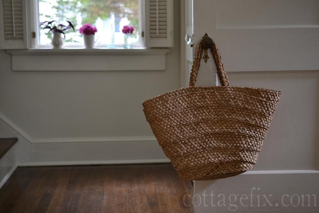 Cottage Fix blog - flowers in the windowsill and a straw tote