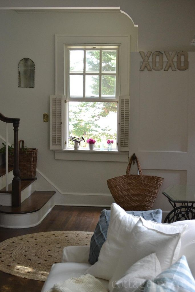 Cottage Fix blog - cottage living room, staircase, and windowsill