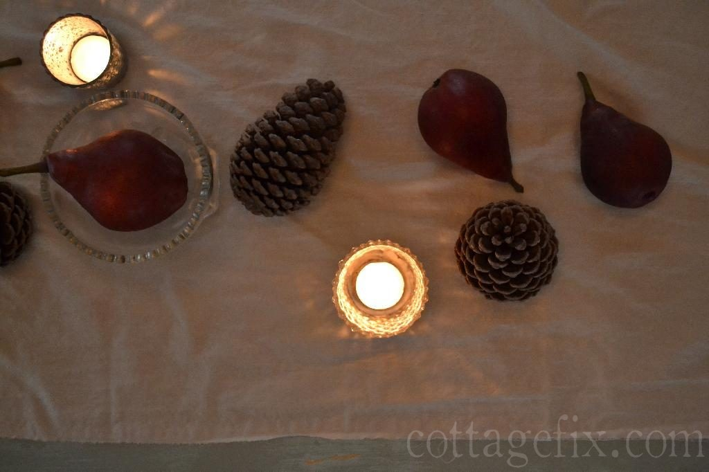 Cottage Fix blog - pine cones and pears on a cotton runner