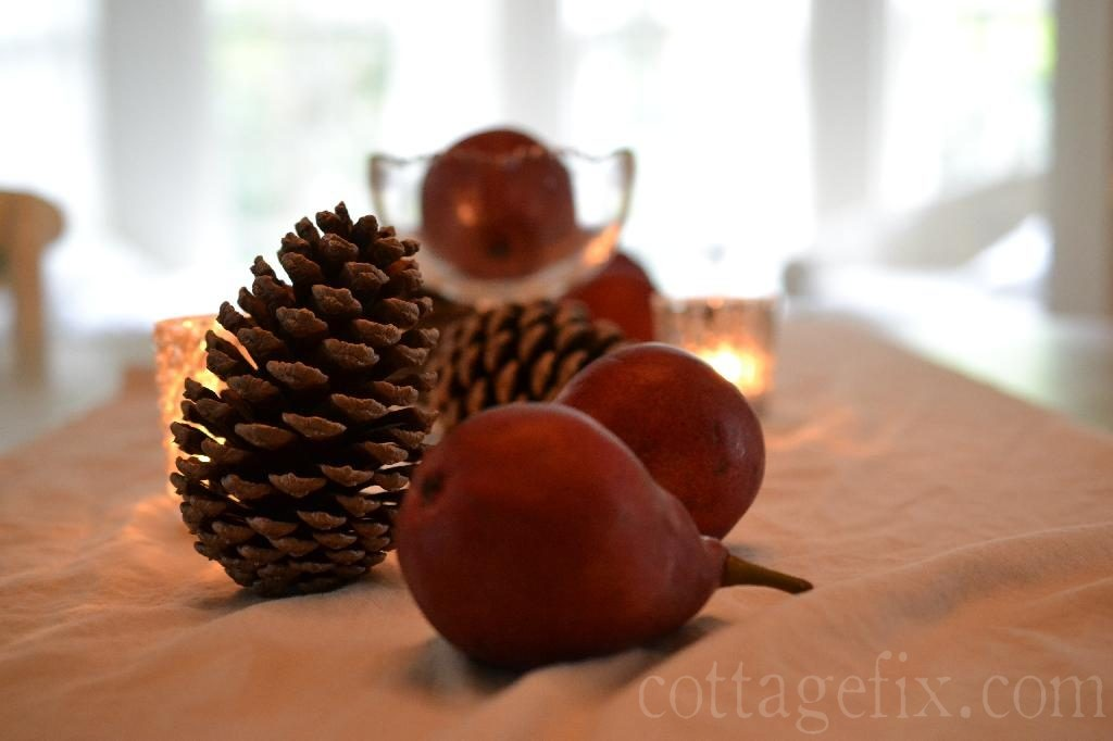 Cottage Fix blog - pine cones and pears tablescape