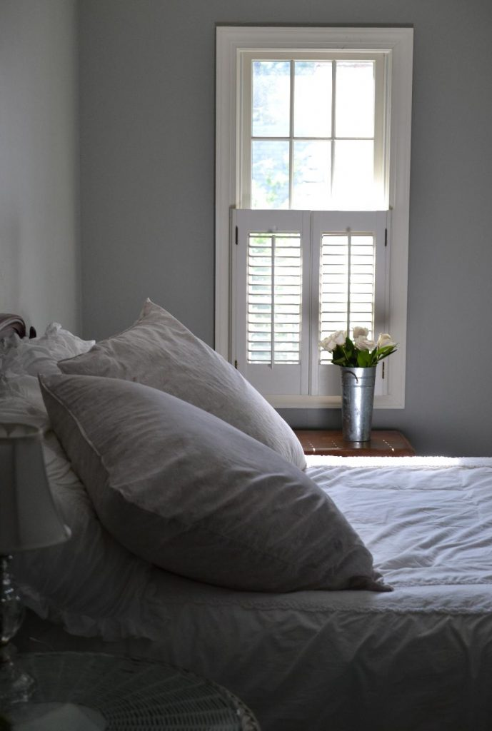 Cottage Fix blog - bedroom with Louella shams and white roses