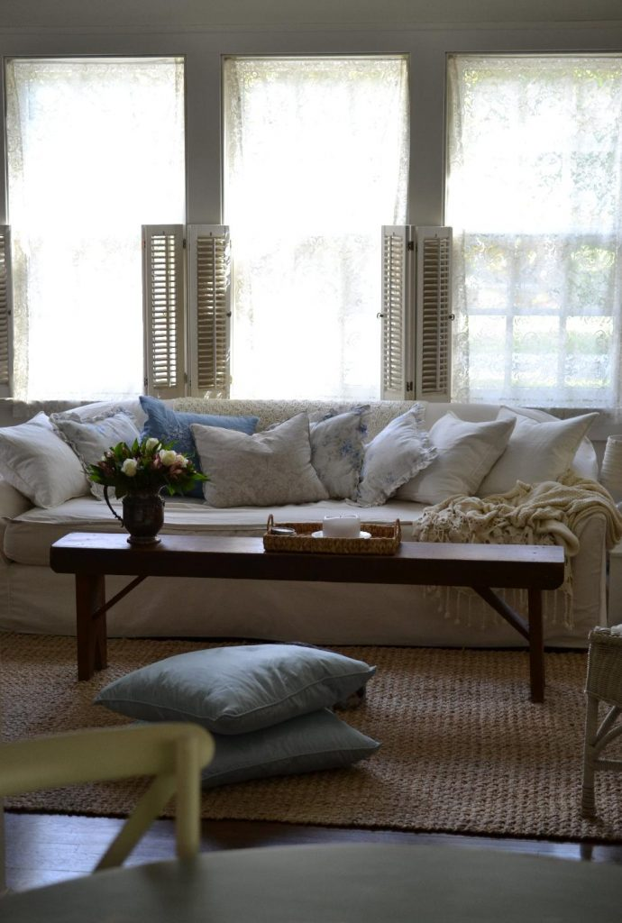 Cottage Fix blog - shabby chic pillows in the cottage living room