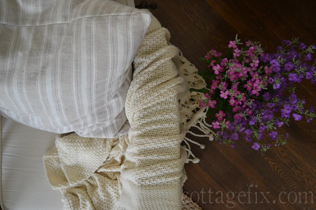 Cottage Fix blog - pillow and flowers