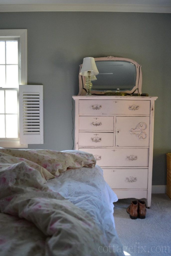 Cottage Fix blog - shabby chic bedroom with pink dresser
