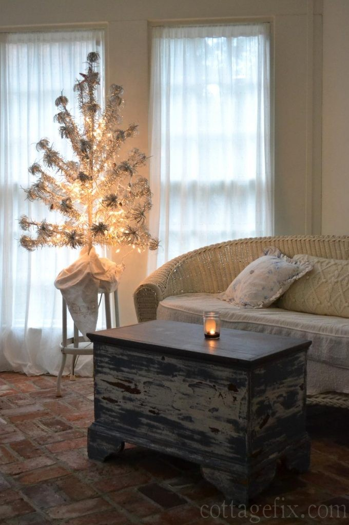 Cottage Fix blog - vintage silver pom pom tree for a shabby chic holiday vibe