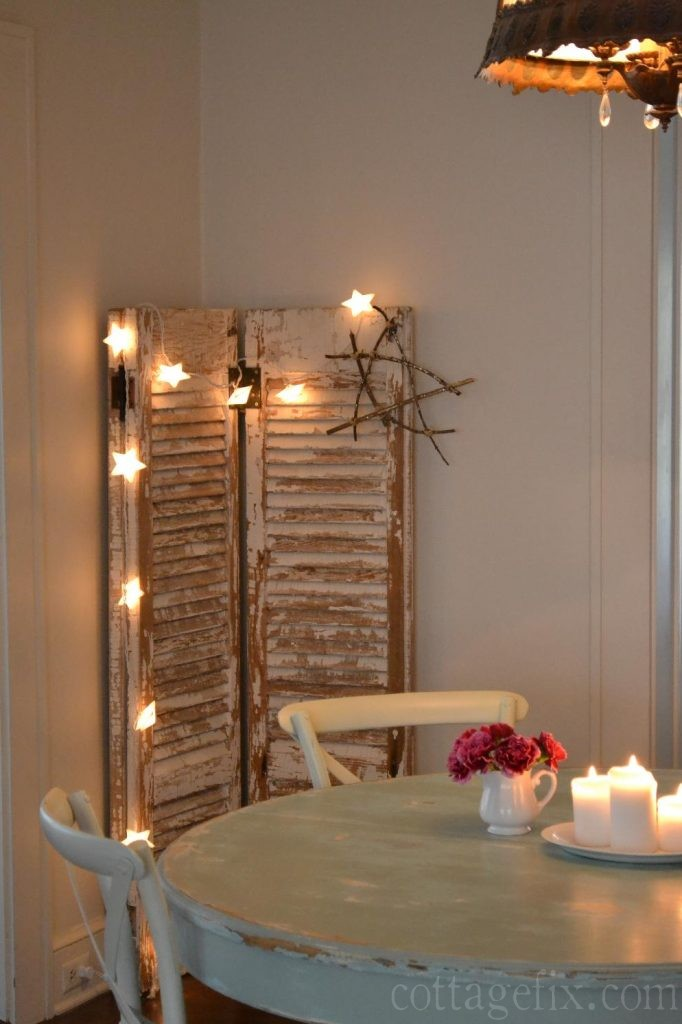 Cottage Fix blog - starry lights and vintage chippy shutters
