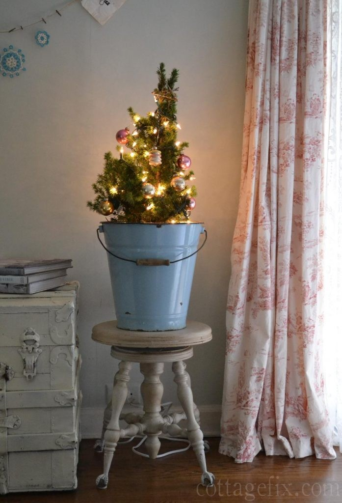 Cottage Fix blog - tiny Christmas tree with vintage baubles