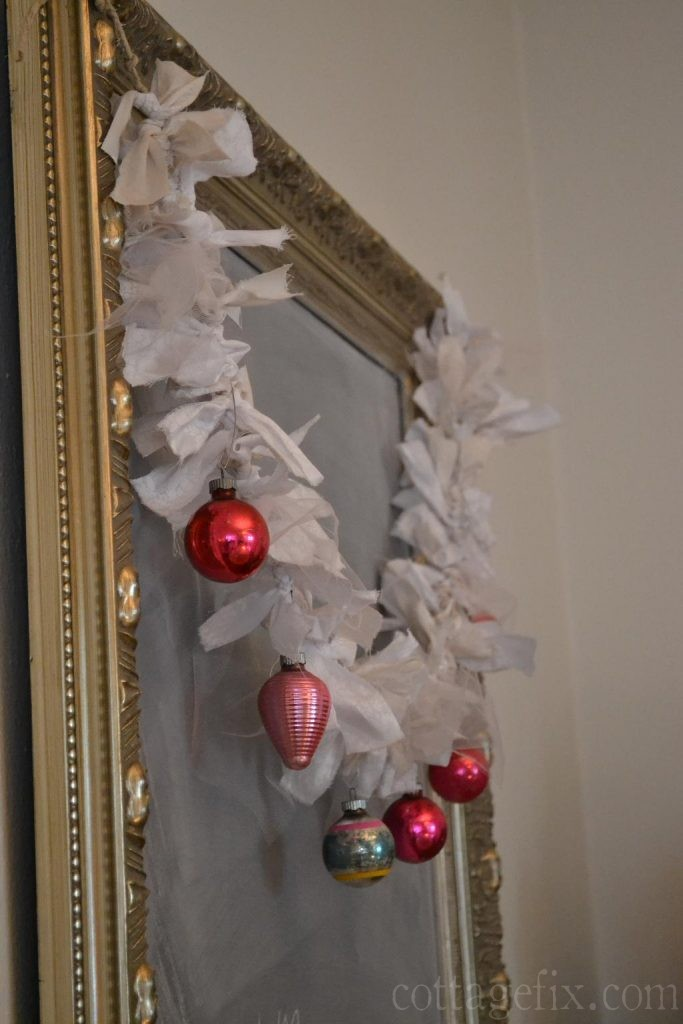 Cottage Fix blog - DIY garland with vintage baubles