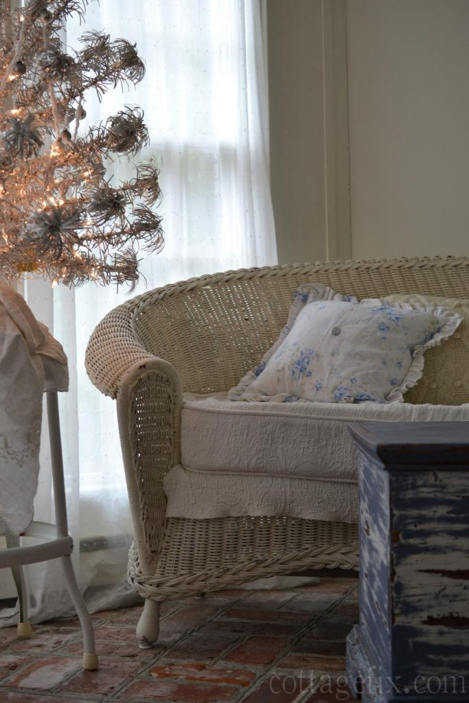 Cottage Fix blog - shabby chic Christmas tree on the sun porch