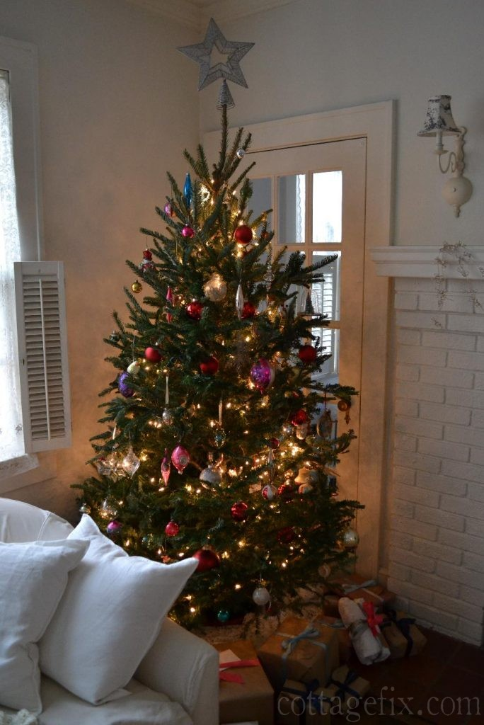 Cottage Fix blog - colorful vintage baubles on our tree