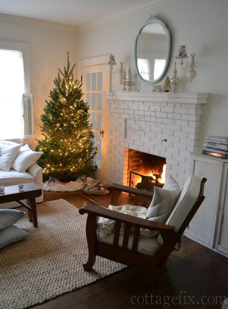 Cottage Fix blog - Christmas tree in our cottage living room