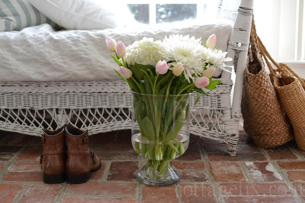 Cottage Fix blog - spring bouquet and brick floors