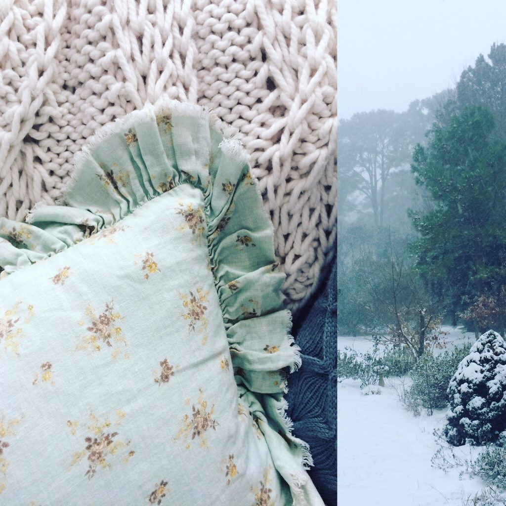Cottage Fix blog - linen pillow and winter