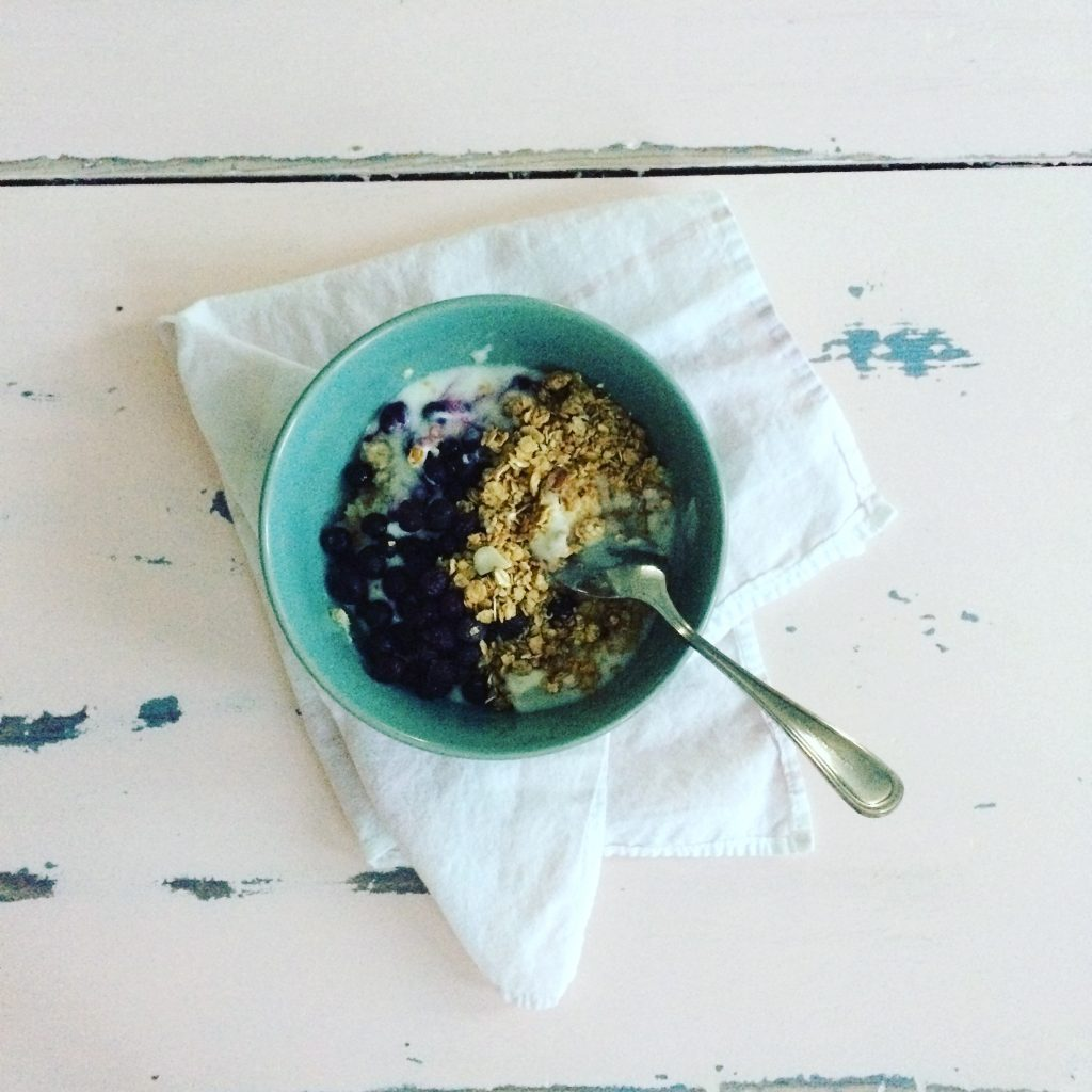 Cottage Fix blog - breakfast bowl with frozen blueberries, yogurt, and granola