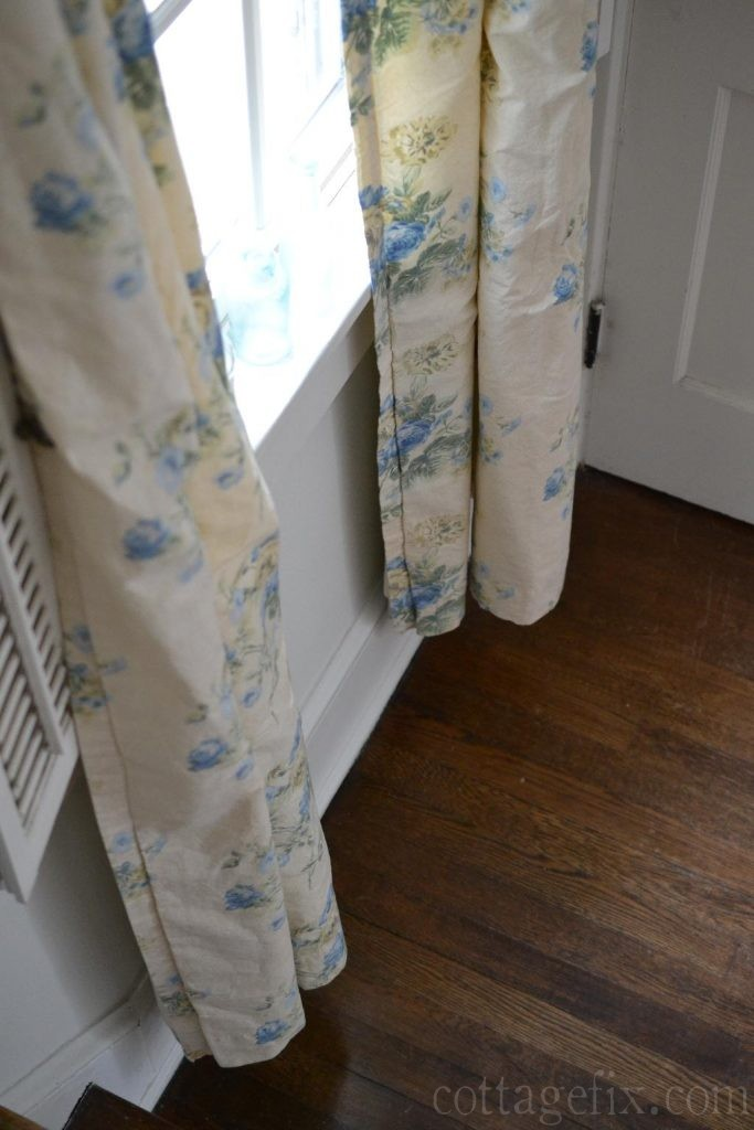 Cottage Fix blog - blue floral vintage drapes