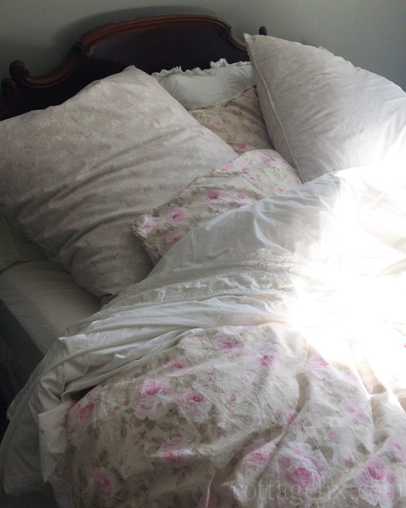 Cottage Fix blog - shabby chic bedding and sunlight