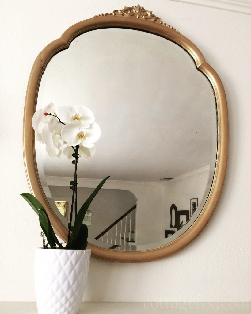 Cottage Fix blog - gold mirror and white orchid