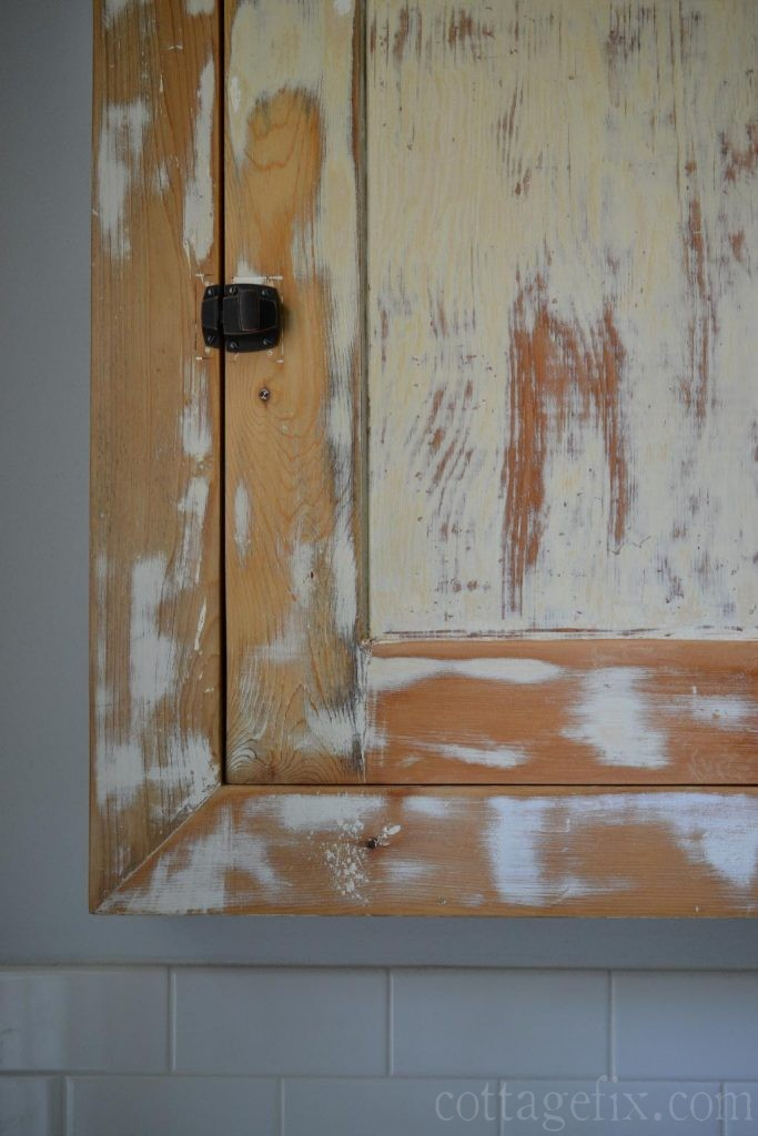 Cottage Fix blog - vintage bathroom cabinet and bronze latch