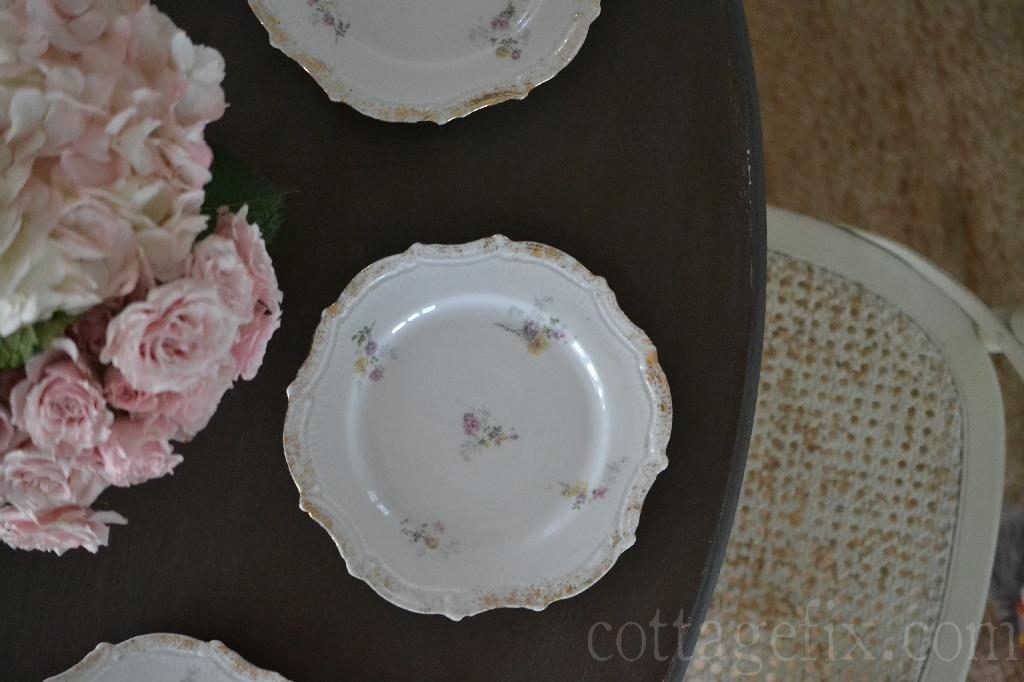 Cottage Fix blog - vintage floral shabby chic dessert plates