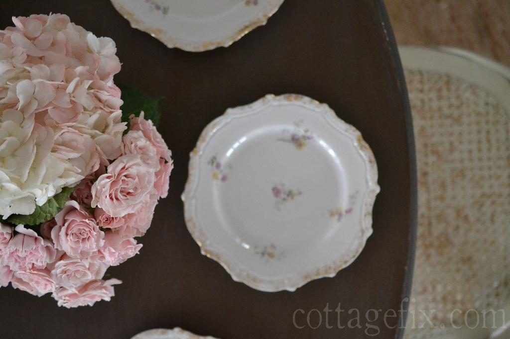 Cottage Fix blog - pink bouquet and vintage dessert plates