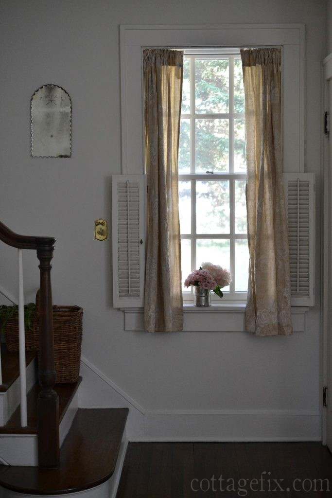 Cottage Fix blog - shabby chic taupe drapes