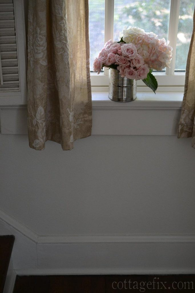 Cottage Fix blog - shabby chic drapes and pink bouquet