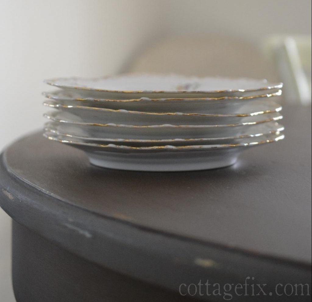 Cottage Fix blog - stack of vintage plates with gold ruffled edge