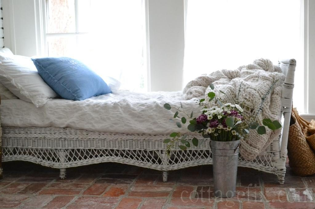 Cottage Fix blog - spring-y bouquet and wicker daybed