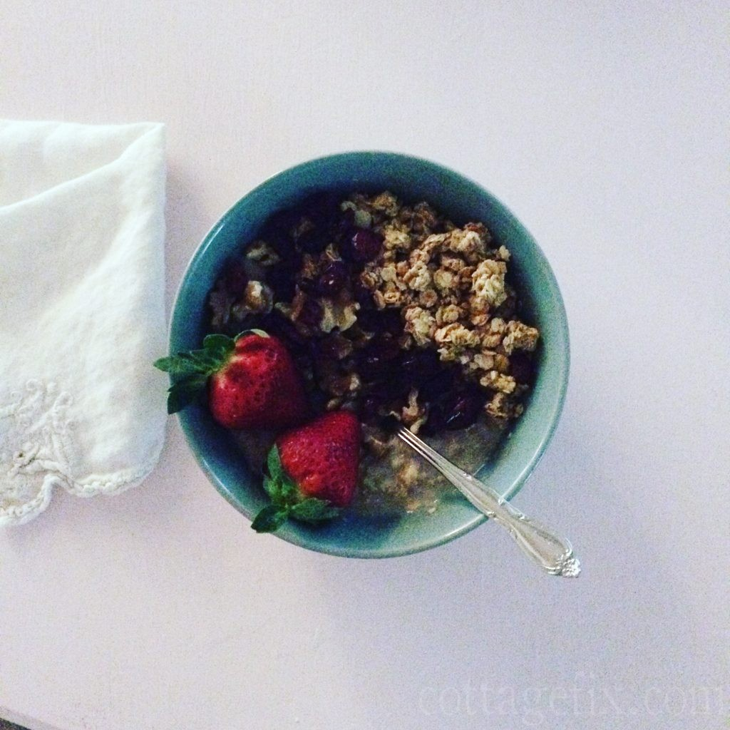 Cottage Fix blog - oats and berries breakfast