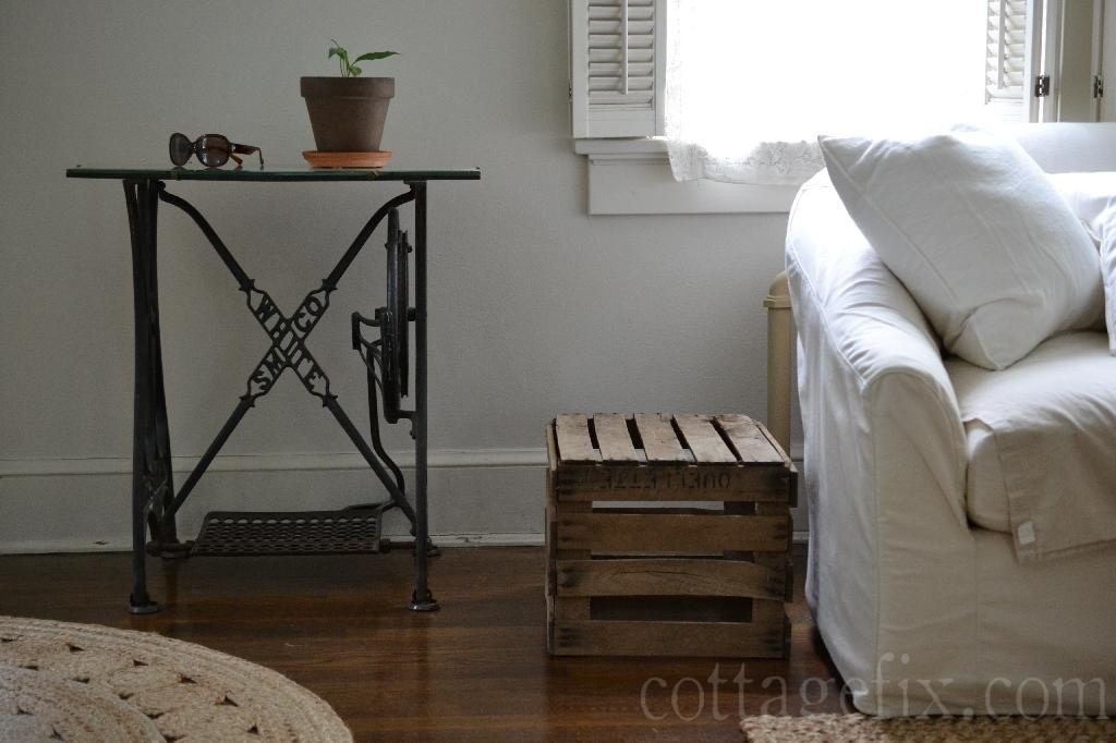 Cottage Fix blog - white sofa and rustic crate