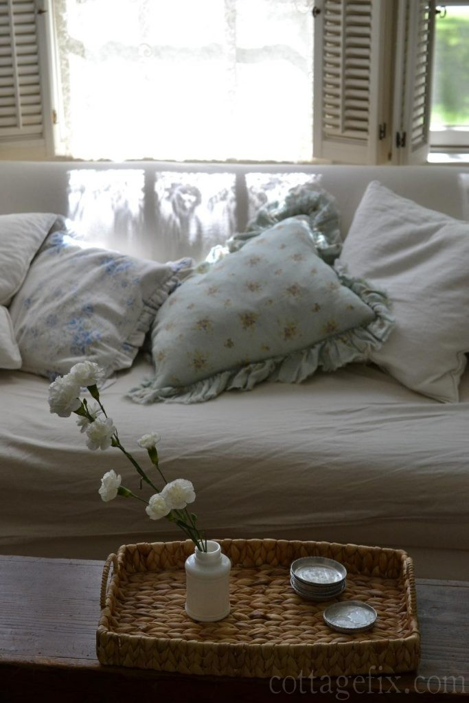 Cottage Fix blog - pale floral pillows