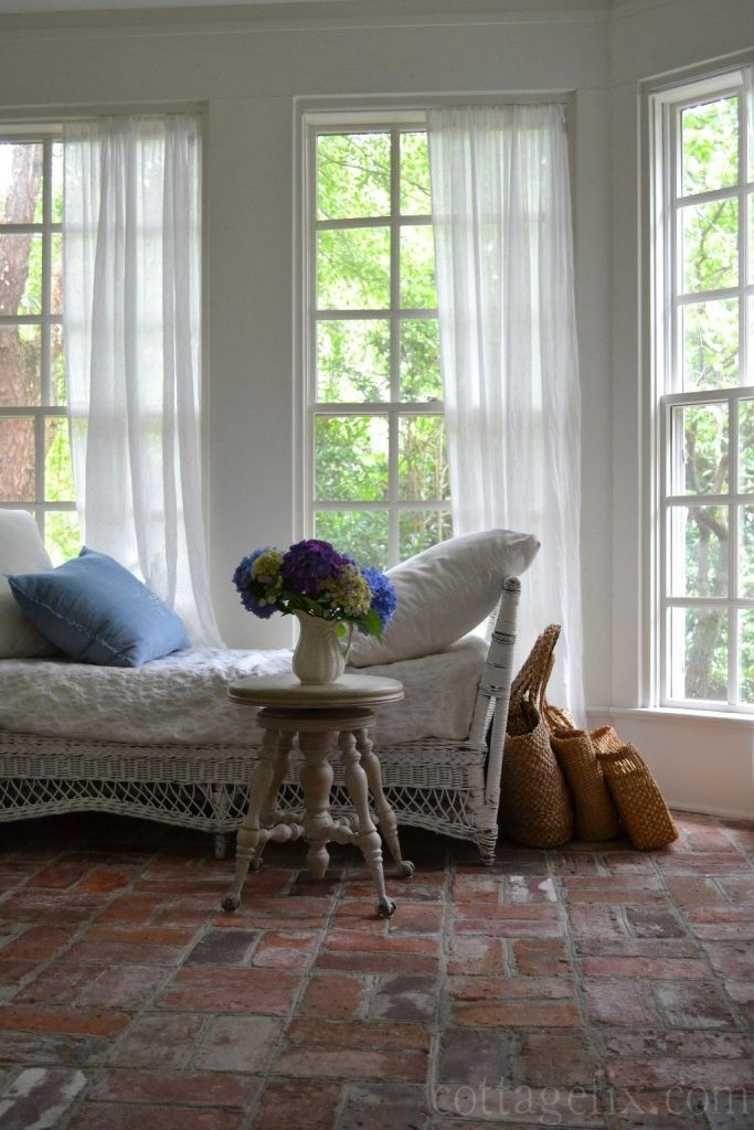 Cottage Fix blog - hydrangeas on the sun porch