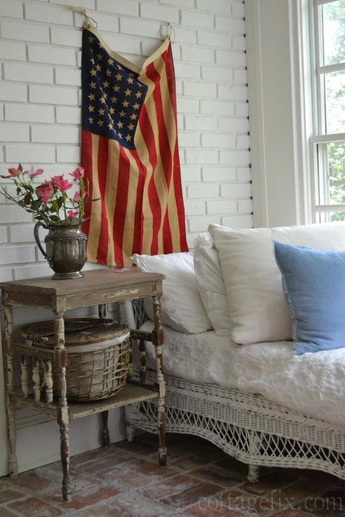 Cottage Fix blog - spray roses and a vintage flag