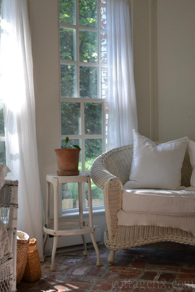 Cottage Fix blog - white linen and matelasse