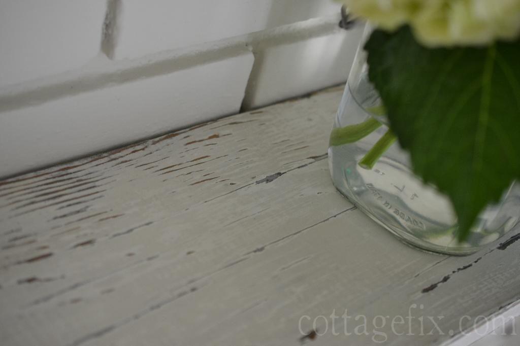 Cottage Fix blog - distressed vintage mantle